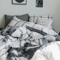 简约床上四件套全棉纯棉1.8m床单被罩被套单人床笠学生宿舍三件套