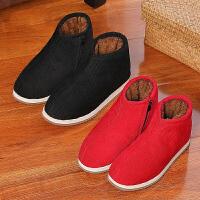 老人棉拖鞋女包跟冬季家居室内中老年加绒加厚底保暖手工棉鞋
