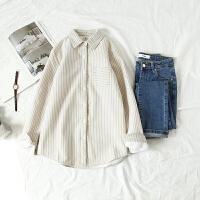 加绒衬衫女长袖2018秋冬季新款韩版加棉学生打底条纹衬衣加厚保暖