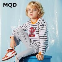 MQD男童长袖T恤纯棉2020春季新款中大儿童韩版运动上衣条纹体恤