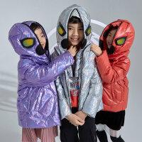 【1件5折�r:300】米喜迪mecity童�b2020冬新款蜘蛛�b男童女童眼�R可�卸帽羽�q服
