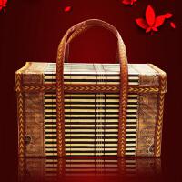 端午节粽子礼盒包装盒新款创意牛肉熟食箱子礼品盒土特产外 方包 棕色30*14*18