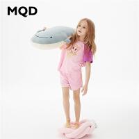 【2件35折:175】MQD童装女童家居服2020春夏新款印花拼块条纹短袖儿童运动套装潮