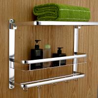 浴室壁挂太空铝卫浴挂件置物架三层毛巾架卫生间折叠浴巾收纳挂架
