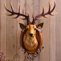 鹿头墙壁挂件壁饰欧式创意玄关客厅酒吧背景立体装饰抖音