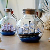 木制帆船 瓶中船模型摆件帆船木制手工艺品小黑珍珠号室内酒柜装饰品水晶球a 宽颈款黑船