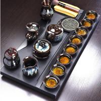 唐丰整块石材茶盘陶瓷功夫茶具套装家用西域风情泡茶器乌金石茶台