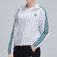 adidas阿迪达斯三叶草女装2019年新款防风服休闲条纹夹克DU9925