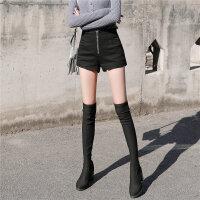 皮裤靴裤阔腿高腰短裤女秋冬款2018新款修身显瘦百搭打底外穿冬季