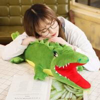 鳄鱼枕头长条抱枕公仔睡觉男孩子大毛绒玩具可爱懒人生日礼物 绿色