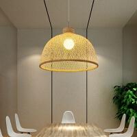 {至为家居}创意新中式挑高客厅吊灯仿古三头餐厅灯具大厅竹编复式中空楼梯灯