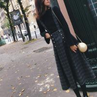 港味新款小清新套装裙时尚甜美两件套2018秋冬毛衣背带连衣裙女装