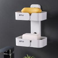 香皂盒沥水卫生间创意家用免打孔吸盘式放壁挂盒子双层肥皂盒架