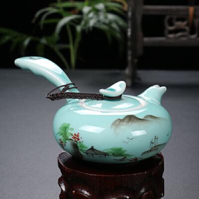 手绘龙泉青瓷茶具套装 茶盘 侧把壶 一壶两杯简易功夫茶具快客杯