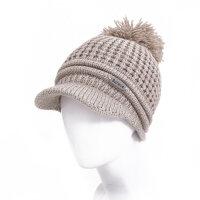 帽子女冬天保暖毛线帽秋冬季休闲百搭毛球套头月子帽可爱针织帽MYZQ23 可调节(全国送运费险)