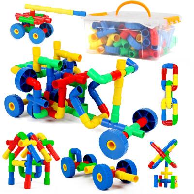 橙爱 五彩插管积木 塑料拼插管道式积木玩具 儿童益智拼搭乐高式水管道积木 儿童玩具益智玩具限时钜惠