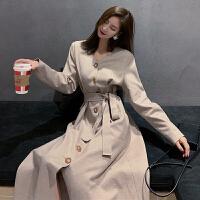 中长款配大衣的裙子秋冬女装新款复古风系带毛呢连衣裙长袖桔梗裙