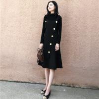 法国小众连衣裙女秋冬季法式复古收腰中长款过膝毛衣裙子两件套装 黑色