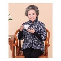 中老年女装冬装中袖花棉衣奶奶装棉袄短款老年人妈妈装外套