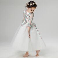 花童婚纱裙钢琴演出服小主持人走秀长袖春夏季女童晚礼服儿童公主裙
