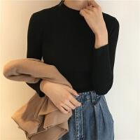 春季韩版女装修身显瘦基础款长袖针织衫半高领套头毛衣打底衫