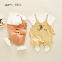 6-9个月婴儿衣服可爱萌外出哈衣宝宝夏装薄款连体衣