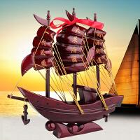 帆船摆件实木官船模型 开业*客厅家居玄关装饰工艺品一帆风顺