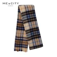 【1件3折�r:141,可�B券】�羊毛MECITY女�b2019冬季新款�r尚格�y保暖��巾