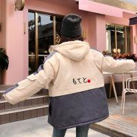 冬装新款棉袄外套女加厚连帽拼色工装棉衣韩版学生bf宽松原宿 灰色 S