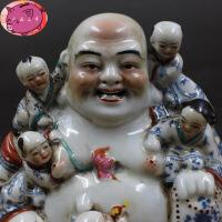 青花斗彩雕塑 五福童子弥勒佛 摆件收藏 民间老货瓷器古玩 图片色