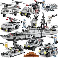 启蒙航空母舰玩具5儿童益智拼装8军事6-10岁12兼容乐高积木男孩子