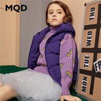 MQD童装女童羽绒背心2019冬装新款儿童保暖连帽羽绒马甲90白鸭绒