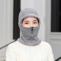 帽子女冬季加绒加厚保暖冬季骑车防寒护耳针织毛线帽秋冬天一体帽