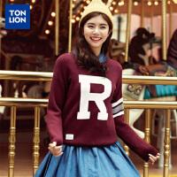唐狮(TonLion)毛衣女套头字母提花短款韩版圆领长袖织衫休闲