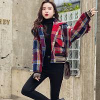 复古格子毛呢外套女2018秋冬装新款韩版加棉短款小个子英伦呢大衣 酒红色2238