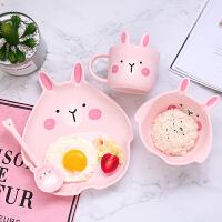 儿童餐盘创意陶瓷卡通宝宝餐盘儿童餐具套装可爱家用早餐盘子吃饭碗勺组合wk-123