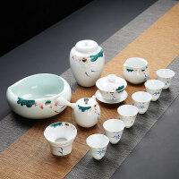 【新品】功夫茶具茶杯套装家用简约现代客厅德化白瓷侧把茶壶陶瓷手绘盖碗