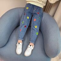 女童牛仔裤秋装洋气时髦儿童宽松长裤女孩休闲弹力裤子潮.