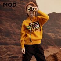 MQD童装男童2019冬季加厚毛衣半高领针织衫保暖大图案儿童打底衫