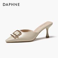 Daphne/�_芙妮拖鞋女2020新春款�r尚百搭�n版尖�^�跟包�^半拖鞋
