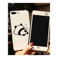 日韩熊猫苹果8p可爱钢化膜iPhone6s全屏前后7plus卡通彩膜X手机壳 6/6s 4..7白趴趴钢化膜+玻璃壳