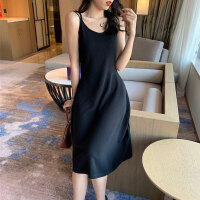 韩版气质chic风性感细肩带打底吊带裙子潮春夏季中长款纯色连衣裙