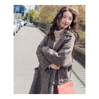 【夹棉/不夹棉】毛呢外套女秋冬中长款韩版宽松格子呢子大衣