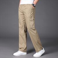 夏季薄款多口袋工装裤男长裤宽松大码休闲运动肥佬裤系带抽绳松紧