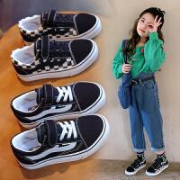 女童帆布鞋春秋季黑白棋�P格子�和�板鞋男童�����涡�
