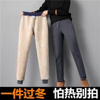 【加绒加厚】2件减5元 羊羔绒加绒加厚保暖棉裤女宽松大码哈伦裤印花休闲运动长裤子