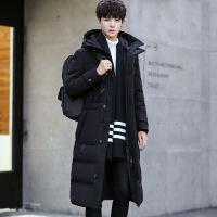 冬季新款男士羽绒服中长款加厚青年韩版修身长款过膝防寒外套