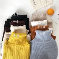 韩版高领毛衣针织衫春装新款学生时尚长袖洋气糖果色打底上衣女潮