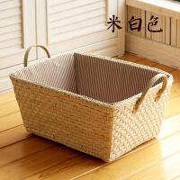 好货简约桌面杂物收纳盒田园藤草编收纳筐 零食玩具储物篮子 整理盒