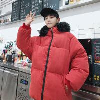大码男装棉衣面包服棉袄青少年冬季加厚外套 全身红色带黑毛 S
